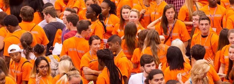 A Sea of Orange - students in orange Buffalo State T-shirts